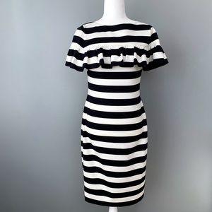 Eliza J | Navy & White Stripe Ruffle Shift Dress